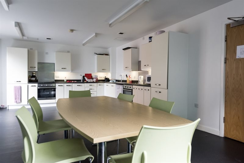 A common area and kitchen in Horton Halls.