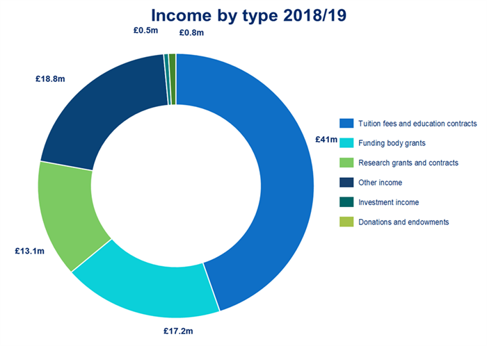 A pie chart showing our income by type in 2018/19.