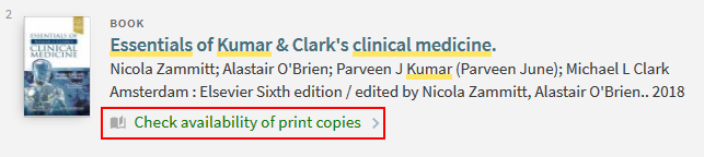 9 Print book result with link