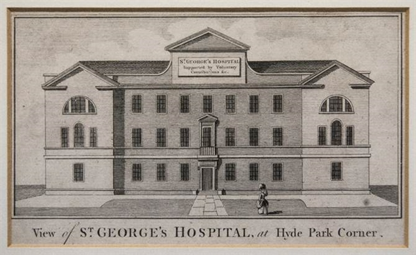 An etching of St George's at Hyde Park Corner, c,1740.