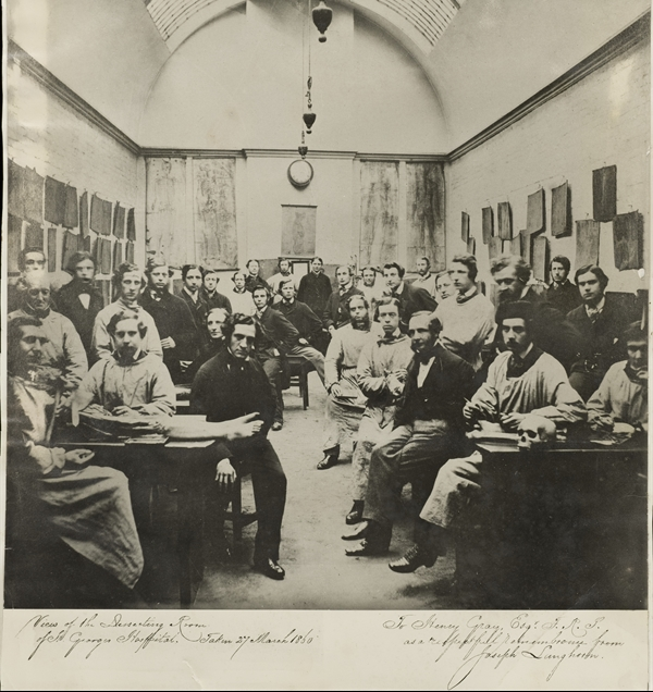 Photograph of the dissecting room at St George's Hospital, with students and lecturers, including Henry Gray, 1860