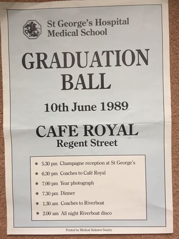 A flyer from the class of 1989's graduation ball.