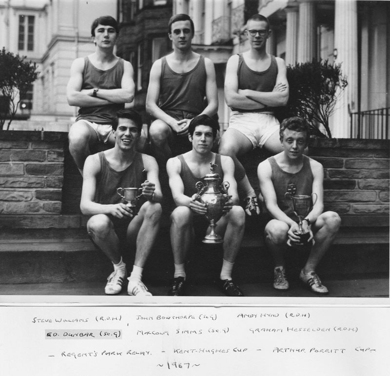 A phot of Dr Edward Dunbar in an athletic team photo.