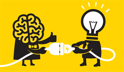 An illustration of a brain and a lightbulb.