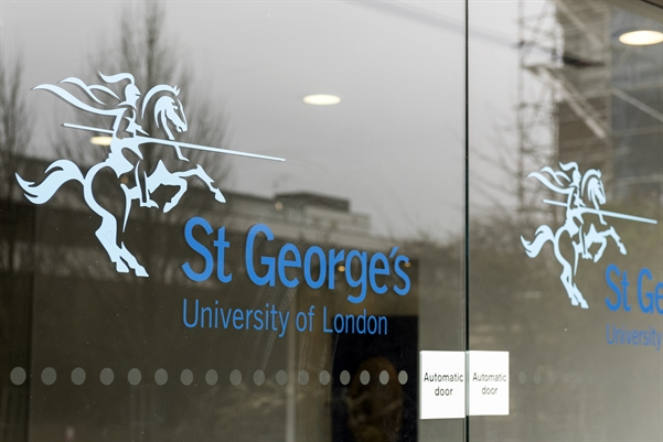 The entrance to St George's university.